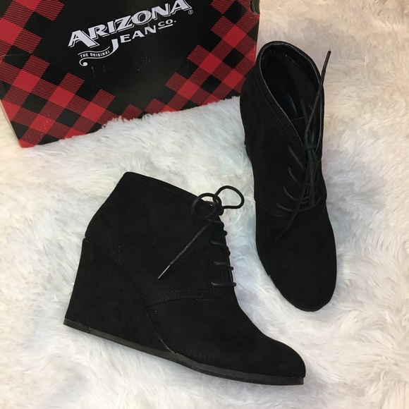 ARIZONA AZ Lacie Black Suede Ankle Wedge Booties 9